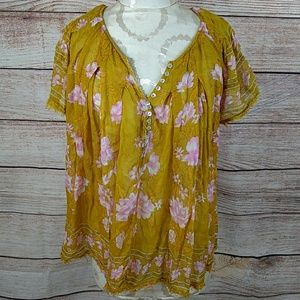 Free People sheer floral boho top large